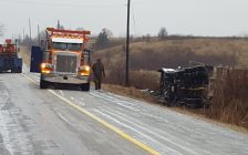 Transport in the ditch on Rokeby Line Jan 17, 2017.  Photo courtesy of Petrolia Fire via Twitter.