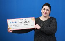 Chatham resident Virginia Scott takes home a big cheque from the OLG, after winning with Instant Bingo Doubler. (Photo courtesy of OLG)