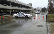 A London police cruiser blocks a roadway at White Oaks Mall. Tuesday, January 17. Photo by Miranda Chant, BlackburnNews.com