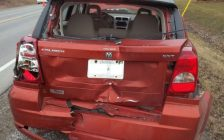 A Dodge Caliber damaged in a crash in Elgin County. Photo provided by Elgin OPP.