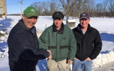 L to R - Joe Elliott, Pioneer sales representative with Rob Annett and Craig Annett from Annbee Farms.