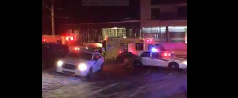Police and ambulance crews at the scene of a shooting at a Mosque in Quebec City. Screen capture from video on Centre Culturel Islamique de Québec Facebook page.