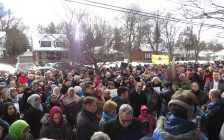 Roughly 300 Londoners attended a solidarity rally at the London Muslim Mosque, January 30, 2017. (Photo by Miranda Chant, Blackburn News.)