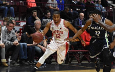Darren Duncan of the Windsor Express dribbles the ball in the Express' 107-98 loss to Niagara on Feb 19, 2017 at the WFCU Centre (Photo courtesy of the Windsor Express)
