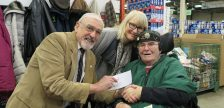 From left, Peter Harding London Food Bank Chair, Brenda Bissette and George Browning at the London Food Bank, February 15, 2017. Photo courtesy of St. Joseph's Health Care.