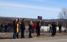 People near Hanover protesting high hydro bills Monday.  (photo by Kirk Scott)