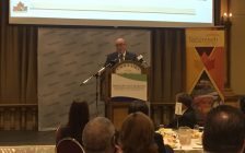 Tecumseh Mayor Gary McNamara speaks at the Windsor Essex Regional Chamber of Commerce luncheon, February 22, 2017. (Photo by Maureen Revait)