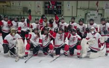 LCCVI Senior Girls Hockey team celebrates a victory in the 'AA' Finals. (submitted Photo)