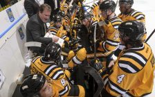 The Sarnia Sting receive instructions from the bench during their 6-5 loss to the Saginaw Spirit at Progressive Auto Sales Arena in Sarnia on Feb 20, 2017 (Photo courtesy of Metcalfe Photography)