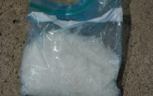 A bag of methamphetamine that was seized by Chatham-Kent police during a traffic stop on February 8, 2017. (Photo courtesy of the Chatham-Kent Police Service)