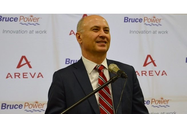Bruce Power President and CEO Mike Rencheck announces a $55-million high-voltage maintenance deal with Areva. (Photo by Jordan MacKinnon)