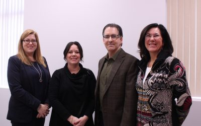 Area NDP representatives Tracey Ramsey, Lisa Gretzky, Brian Masse and Cheryl Hardcastle hold strategic session, February 17, 2017. (Photo by Maureen Revait)