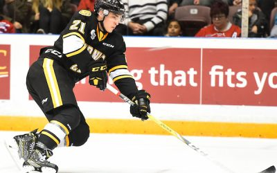 Adam Ruzicka of the Sarnia Sting. (Photo courtesy of Aaron Bell via OHL Images)