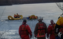 Crews search for a missing man in the pond at Waterford North Conservation Area in Norfolk County, Ontario on Feb 18, 2017.  (Photo courtesy of Ontario Provincial Police)
