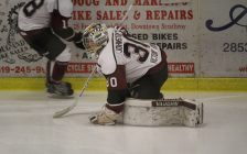 Chatham Maroons goaltender Brendan Johnston warms up ahead of a game against the Strathroy Rockets. February 4, 2017. (Photo by Matt Weverink)