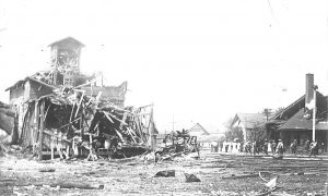 Damage in downtown Essex, August 10, 1907. (Photo courtesy of the Town of Essex)