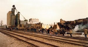 Damage in downtown Essex February 14, 1980. (Photo courtesy of the Town of Essex)
