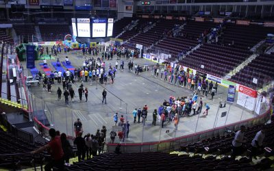 Thousands of students participate in the United Way's annual iClimb event at the WFCU Centre in Windsor, February 22, 2017. (Photo by Mike Vlasveld)