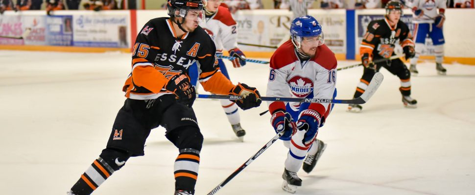 Essex 73's take on the Lakeshore Canadiens, March 10, 2017. (Photo courtesy of Laurie Beaten)