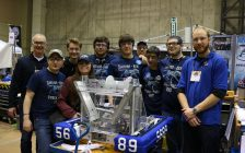 The CK Cyber Pack at the competition in Waterloo. (Photo courtesy of Kim Cooper/FIRST Robotics Canada).