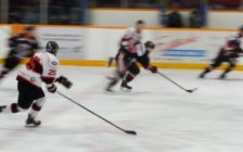 The Cyclones chasing down an opposing Brantford player during the 2nd period of their 6-2 win on home ice. (Photo by Rodney Hiemstra)