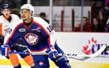 Jeremiah Addison of the Windsor Spitfires. (Photo by Aaron Bell/OHL Images)