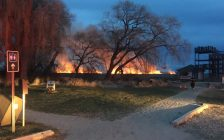 Fire crews battle a marsh fire at Point Pelee National Park, March 29, 2017. (Photo courtesy of the Leamington Fire Service)