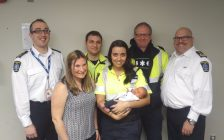 Baby meets paramedics who helped deliver him. March 30, 2017. (Photo courtesy of CK EMS)