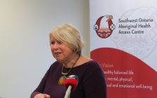 Deputy Premier Deb Matthews speaking at the Southwest Ontario Aboriginal Health Access Centre in London, March 16, 2017. (Photo by Miranda Chant, Blackburn News.)