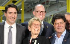 Prime Minister Justin Trudeau , Premier Kathleen Wynne, Windsor Mayor Drew Dilkens and Unifor President Jerry Dias at the Essex Engine Plant announcement, March 30, 2017. (Photo by Maureen Revait)