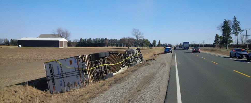 Transport truck rollover on Hwy. 40 near Fairview Line. March 8, 2017. (Photo courtesy of Chatham-Kent OPP)