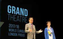 Grand Theatre Artistic Director Dennis Garnhum and Executive Director Deb Harvey announcing a $1-million donation from Helen and Andy Spriet at the Grand, March 9, 2017. (Photo by Miranda Chant, Blackburn News.)