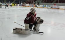 Chatham Maroons goaltender Brendan Johnston warms up ahead of a game against the St. Thomas Stars, March 3, 2017. (Photo by Matt Weverink)