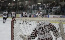 Chatham Maroons goaltender Brendan Johnston faces some shots from his teammates during warm-ups. March 5, 2017. (Photo by Matt Weverink)