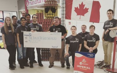 Imperial Oil Sarnia employees present a cheque to Inn of the Good Shepherd Executive Director Myles Vanni. March 13, 2017 (Photo via @ImperialOil Twitter)
