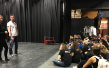 Jared Keeso, right in white t-shirt, the creator and star of Letterkenny, and Listowel native, talks to drama students at LDSS during the 71st annual Sears Drama Festival, alongside teacher Stefanie Webster, left in black. March 24th, 2017 (Photo by Ryan Drury)