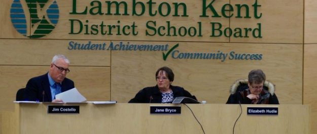 Lambton Kent District School Board Director Jim Costello, Chair Jane Bryce and Vice-Chair Elizabeth Hudie discuss the future of Forest area schools. March 21, 2017 BlackburnNews.com photo by Meghan Bond