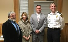 Left to Right: North Huron Reeve Neil Vincent, CAO Sharon Chambers, new North Huron Fire Chief Ryan Ladner, and outgoing Chief David Sparling. (photo by Ryan Drury)