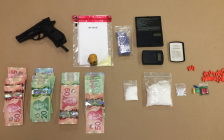St. Thomas police seized a quantity of crystal methamphetamine, hydromorphone pills, and a replica gun after a traffic stop, March 9, 2017. Photo courtesy of St. Thomas police.