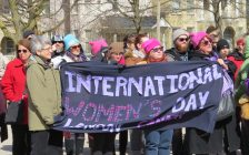 Londoners gathered in Victoria Park for International Women's Day rally, March 8, 2017. (Photo by Miranda Chant, Blackburn News.)