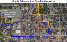 King St./Queens Ave. couplet alternative BRT route. Photo from the City of London.