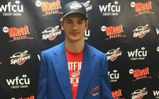 """Windsor Spitfires forward Graham Knott wears the """"player of the game"""" jacket after scoring the overtime winner for Windsor in Game 4 against the London Knights. (Photo courtesy of Chris McLeod)"""