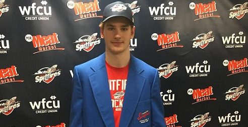 "Windsor Spitfires forward Graham Knott wears the ""player of the game"" jacket after scoring the overtime winner for Windsor in Game 4 against the London Knights. (Photo courtesy of Chris McLeod)"