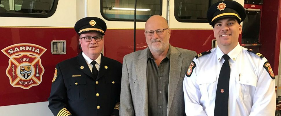 Sarnia Fire and Rescue Receives Donation From Union Gas.  Photo courtesy of Sarnia Fire and Rescue  via Twitter.