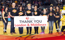 Members of the United Way announce the 2016 campaign results during a London Lightning game at Budweiser Gardens, March 20, 2017. Photo from @unitedwaylm via Twitter.