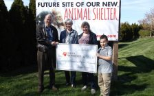 Friends of the new Animal Shelter committee member Dr. Bruce Warwick accepts a cheque from L'Ecuyer family members Cherie Metcalfe, Audrey L'Ecuyer and grandson Christos. (Photo courtesy of Municipality of Chatham-Kent)