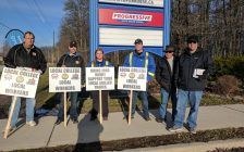Construction trades set up information pickets at Lambton College April 1, 2017 (Submitted photo)