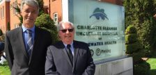 Bluewater Health President and CEO Mike Lapaine (left) and Petrolia Mayor John McCharles announce $7.5-million grant for CEE Hospital.  April 26, 2017 BlackburnNews.com photo by Melanie Irwin.
