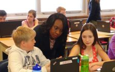 Education Minister Mitzie Hunter meets with students at Beavercrest School in Markdale (Kirk Scott photo)