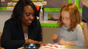 Education Minister Mitzie Hunter meets students at Paisley Central School (Kirk Scott photo)